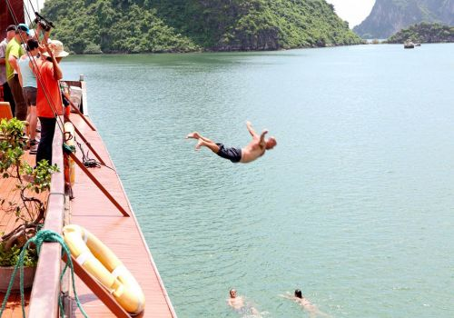 Imperial Junk Boat - Swimming in Halong Bay